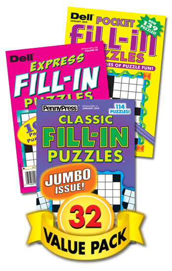 Penny & Dell Fill-In Puzzles Value Pack-32