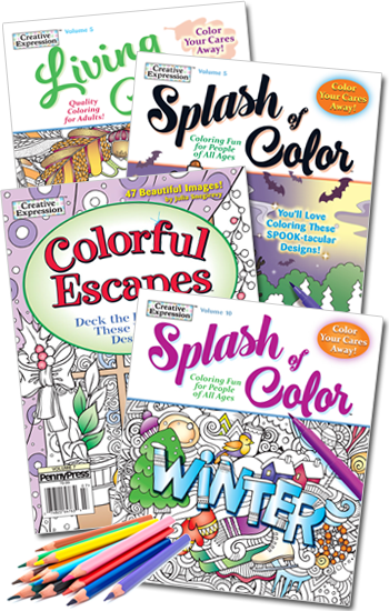 Winter Holiday Coloring Value Pack-4 With Pencils