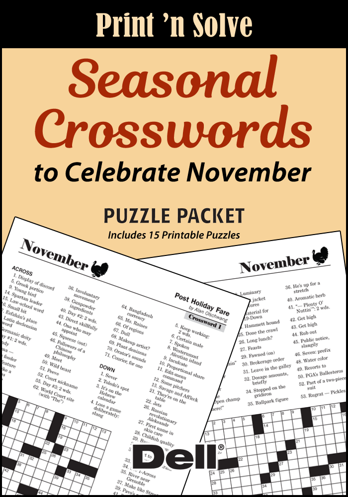 Seasonal Crosswords To Celebrate November Puzzle Packet