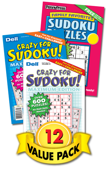 Crazy For Sudoku! Maximum Edition & Family Favorites Sudoku Value Pack-12