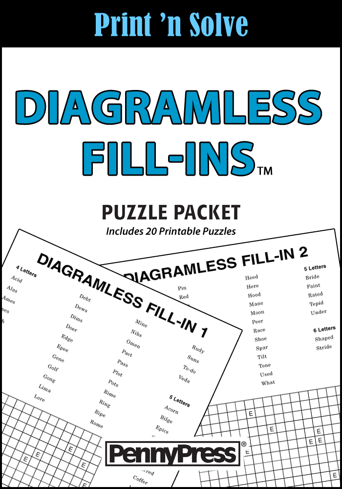 Diagramless Fill-Ins Puzzle Packet