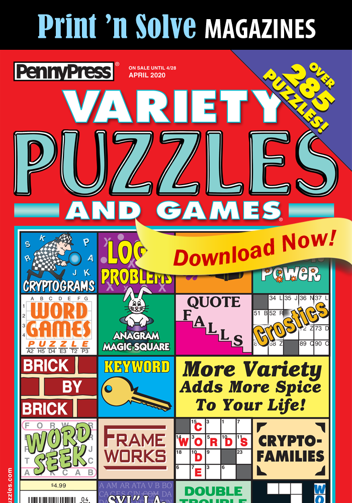 Print 'n Solve Magazines: Variety Puzzles And Games