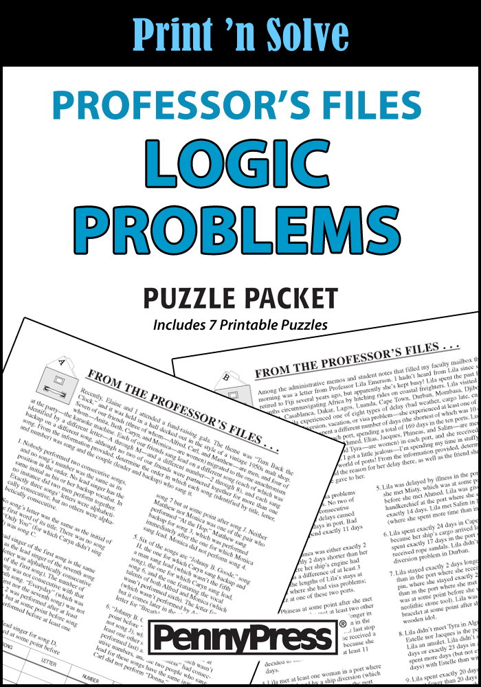 Professor's Files Logic Problems Puzzle Packet