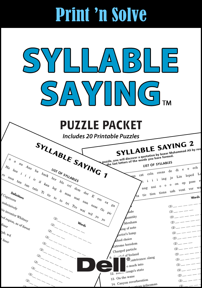Syllable Saying Puzzle Packet