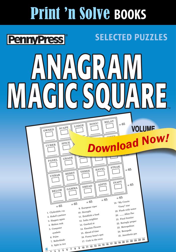Print 'n Solve Books: Anagram Magic Square, Vol. 60