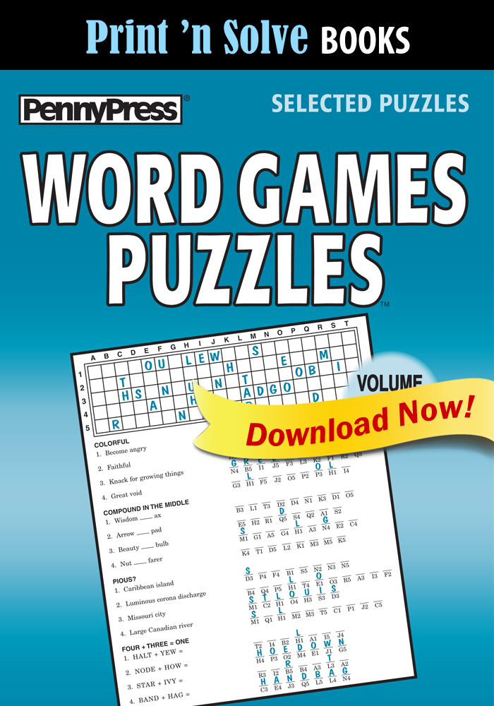 Print 'n Solve Books: Word Games Puzzles, Vol. 52