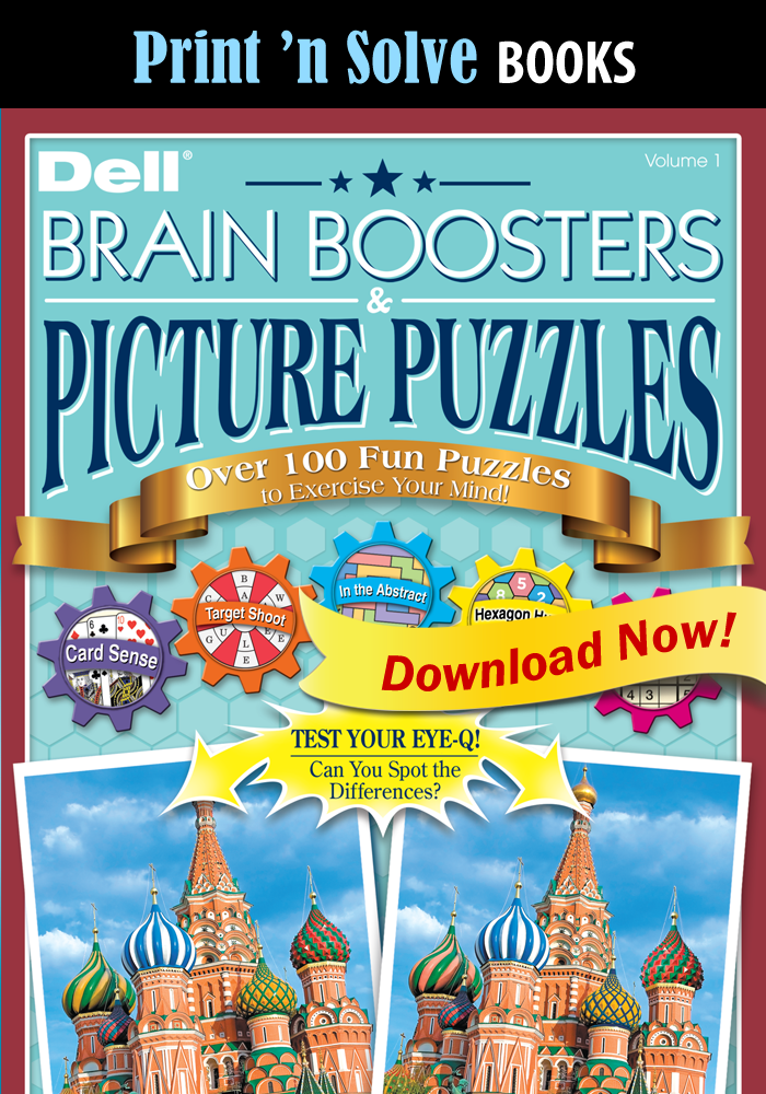 Print 'n Solve Books: Brain Boosters & Picture Puzzles