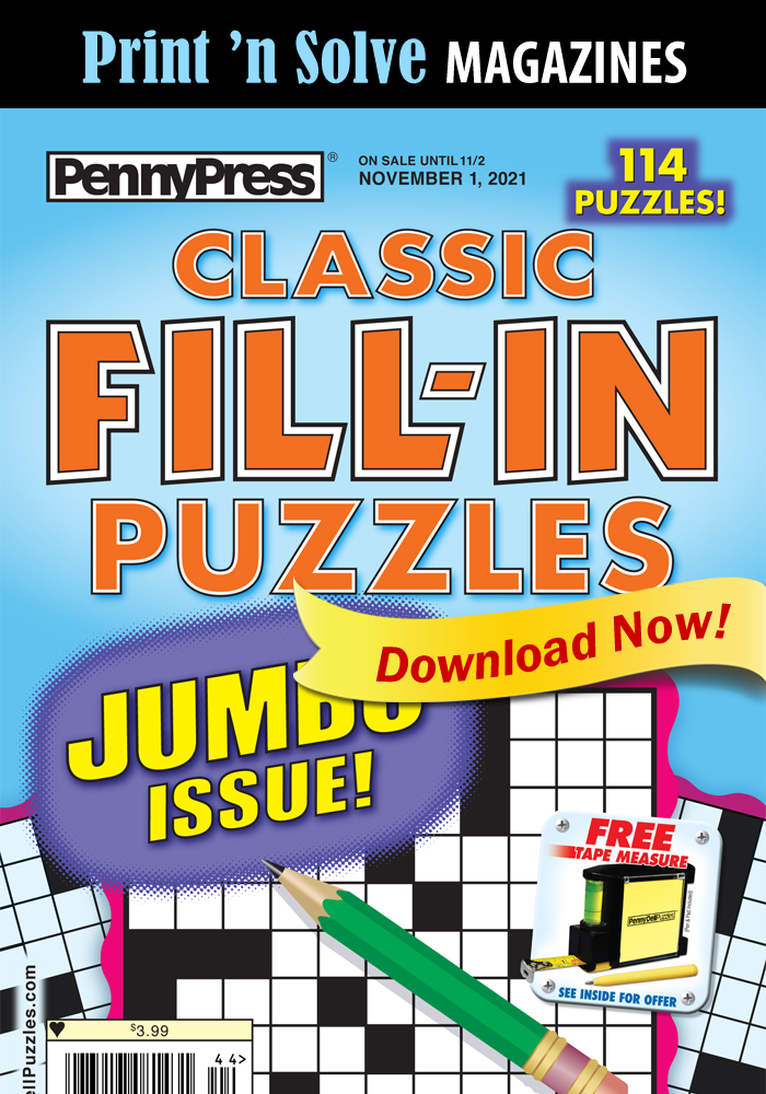 Print 'n Solve Magazines: Classic Fill-In Puzzles