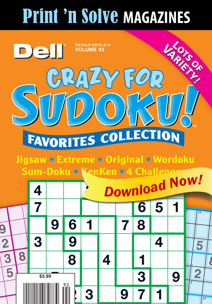 Print 'n Solve Magazines: Crazy For Sudoku! Favorites Collection