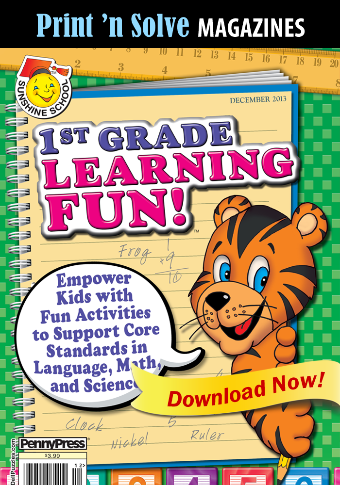 Print 'n Solve Magazines: Sunshine School 1st Grade Learning Fun