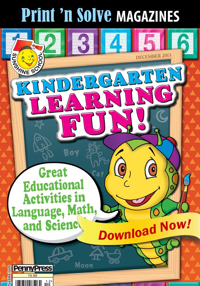 Print 'n Solve Magazines: Sunshine School Kindergarten Learning Fun