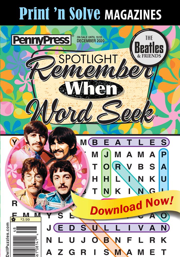 Print 'n Solve Magazines: Spotlight Remember When BEATLES Word Seek (Special Issue)