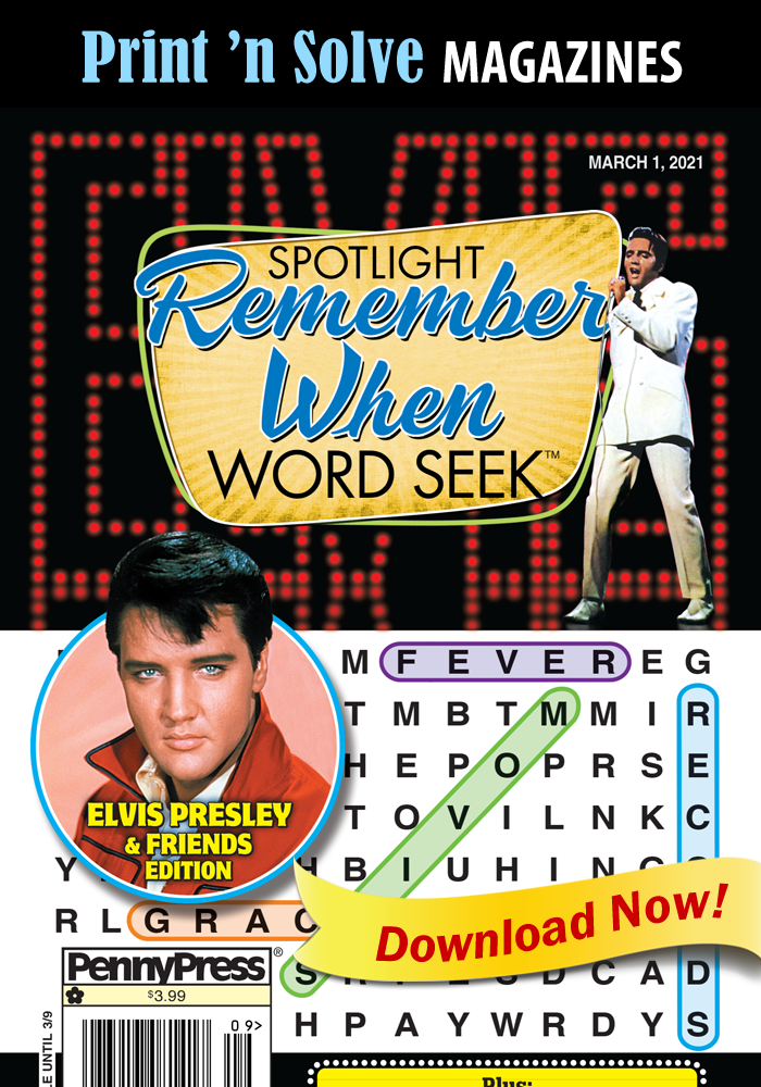 Print 'n Solve Magazines: Spotlight Remember When ELVIS Word Seek (Special Issue)