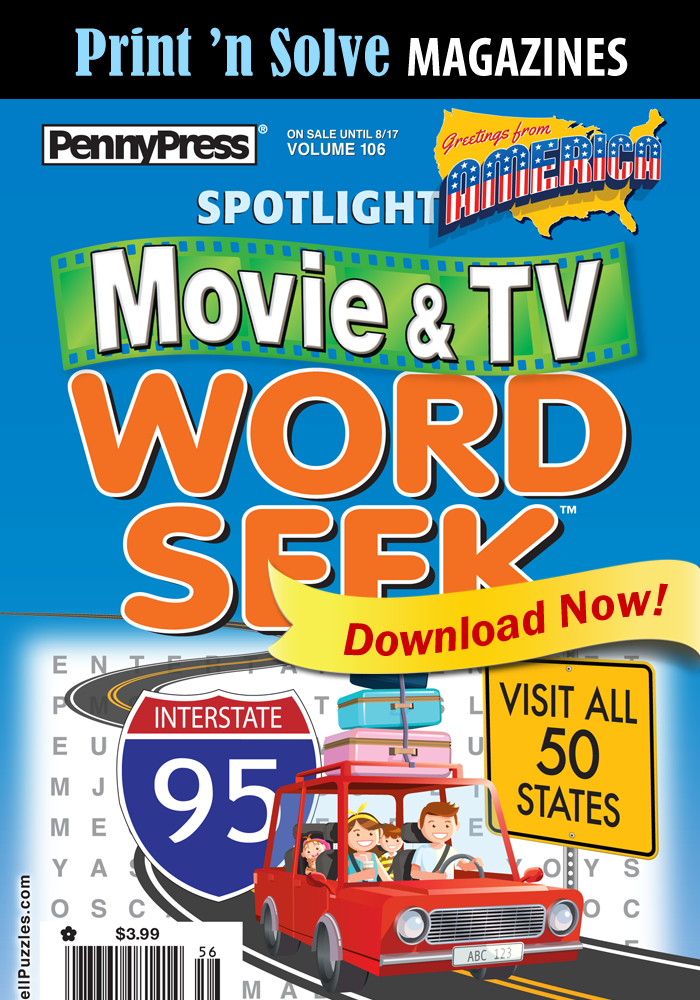 Print 'n Solve Magazines: Spotlight Movie & TV VISIT ALL 50 STATES Word Seek (Special Issue)